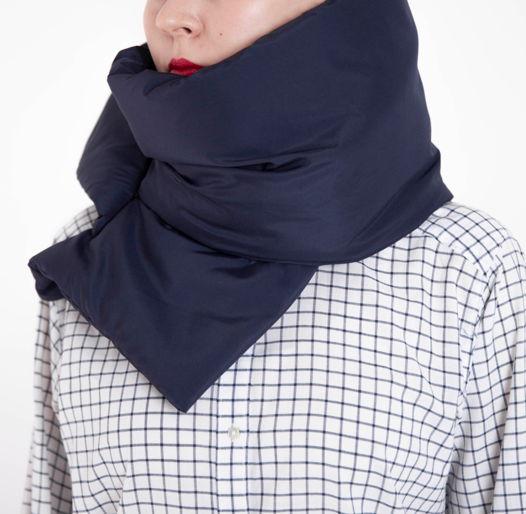 Зимний шарф - палантин глубокий синий