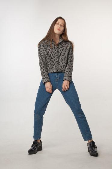 """Женская серая джинсовка из хлопка на кнопках, принт """"Леопард"""" Fari Levich"""