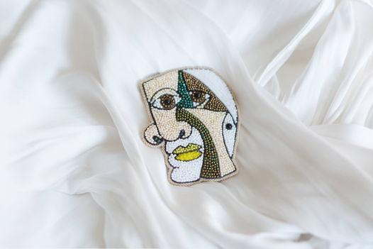"""Брошь из бисера """"Портрет Пикассо"""""""