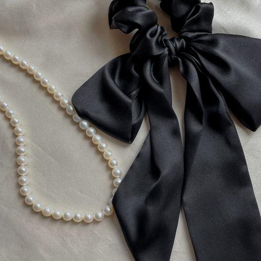 Лента для волос из 100% шелка, чёрная