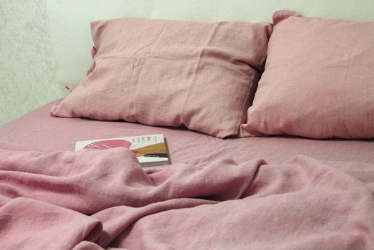 """Льняное постельное белье """"Розовый кварц"""""""