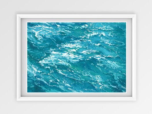 "Акварельная картина ""Душа океана 4"" (29 х 21 см)"