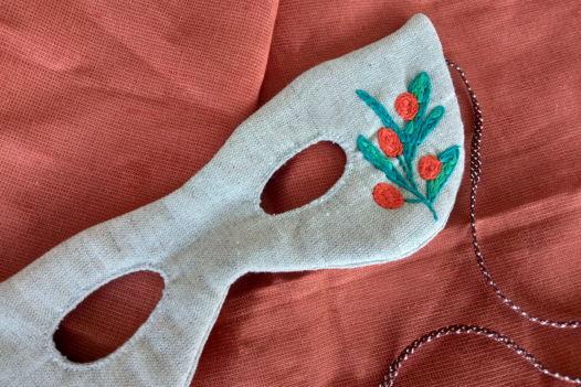 """Маскарадная маска с ручной вышивкой """"Облепиха"""""""