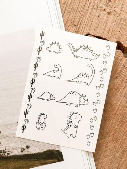 """Временные переводные татуировки MimiToo """"Дино контур"""" для детей и взрослых"""