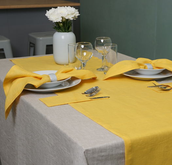 Комплект beige&yellow на 2 персоны с вашими инициалами