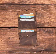 Мини-кошелёк из натуральной кожи Мадрид - цвет орех