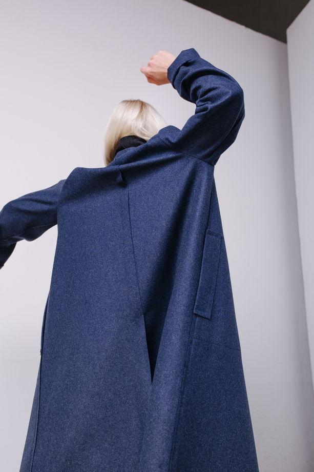Пальто из шерстяного сукна василькового цвета #25