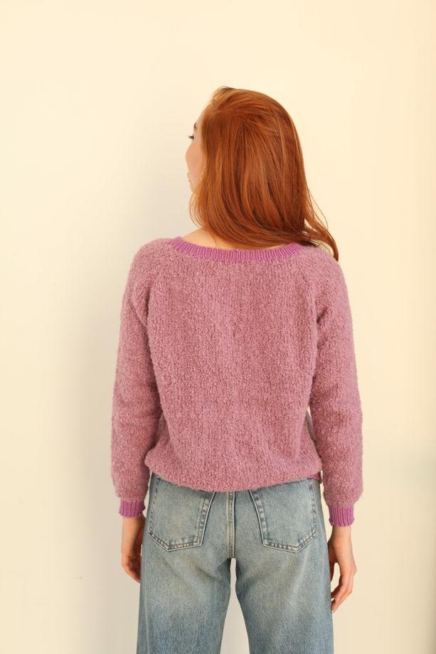 Розовый кудрявый свитер букле из шерсти альпаки и мериноса