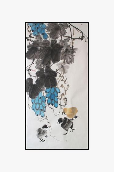 """""""Цыплята копошатся под лозой винограда"""", картина в традиционном китайском стиле се-и   (55 * 100 см)"""