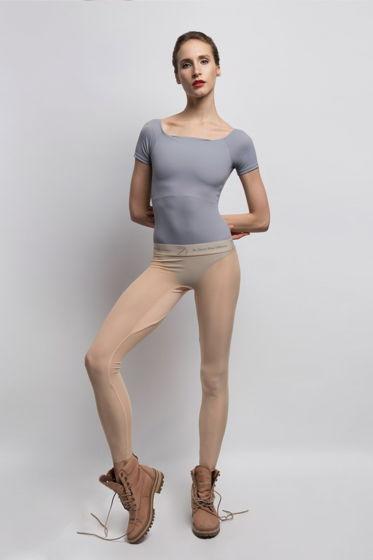 Полупрозрачные леггинсы Zi'ффирус | телесные | черные | серые для балета / спорта