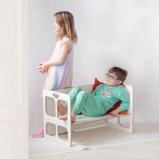 Белый стол-скамья трансформер Монтессори Kiddy's