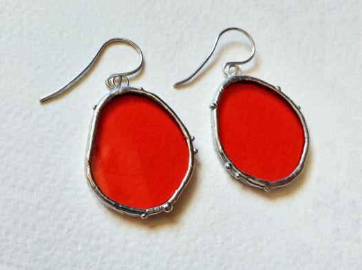 Серьги стеклянные красные синие витражные Эва