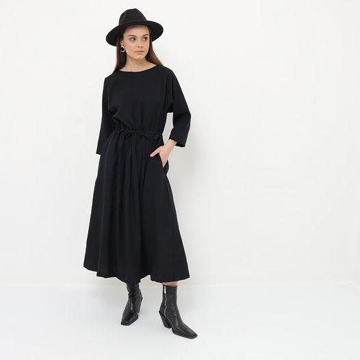 Платье оверсайз с кулиской черное