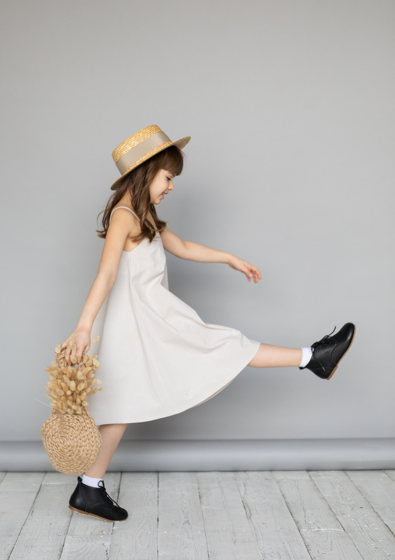 Сарафан для девочки из вареного хлопка (натуральный)