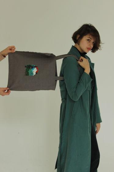 Легкая сумка шоппер из льна с ручной росписью Mountains