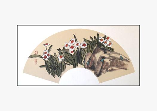 """""""Нарциссы в цвету"""", картина в традиционном китайском стиле се-и  (66 * 33 см)"""