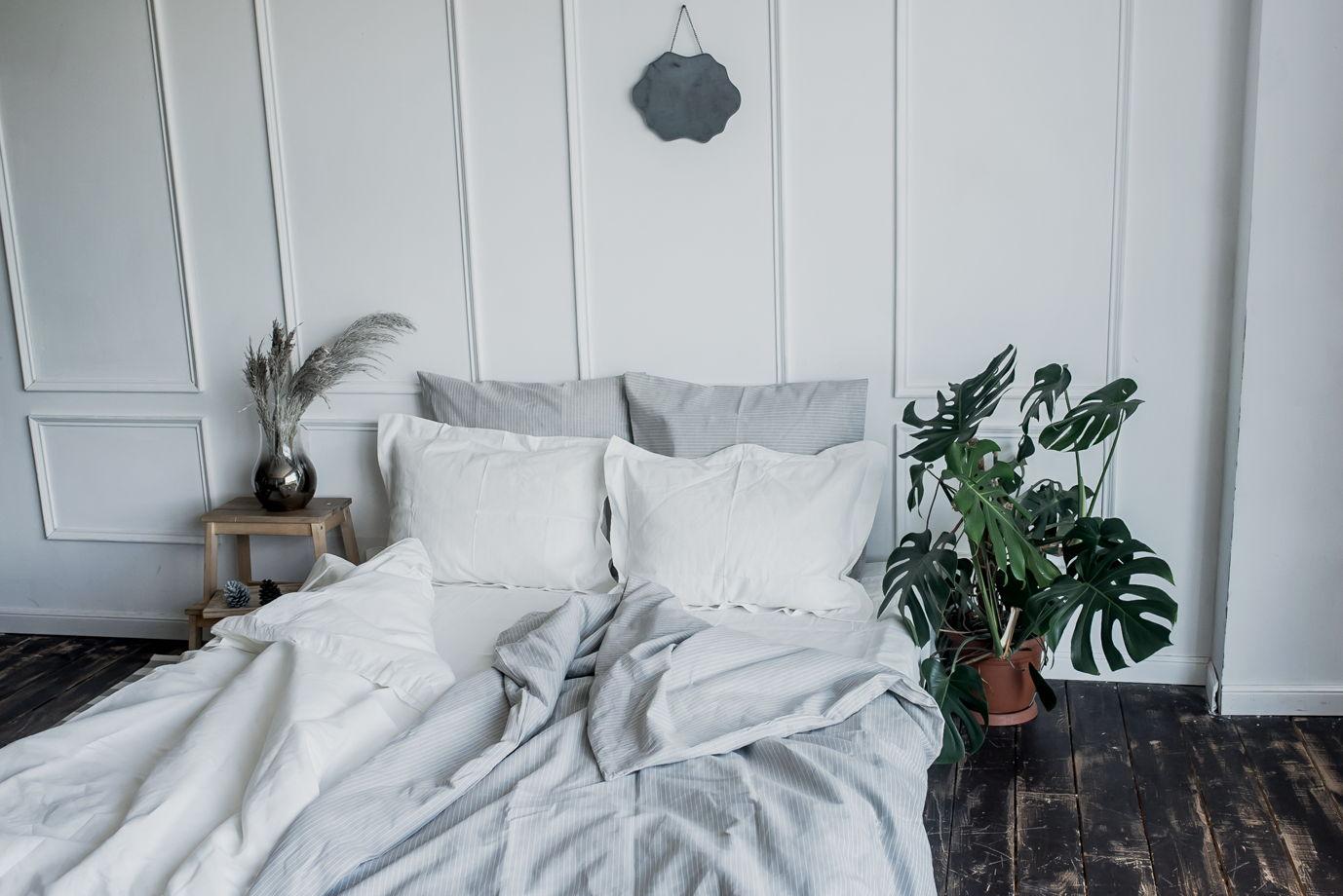 СЕРЫЙ СВЕТЛЫЙ в полоску набор постельного белья изо льна с хлопком