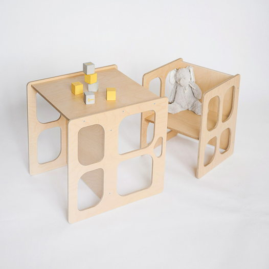 Комплект деревянной детской мебели Монтессори Киддис Лайт стол и стул трансформер, цвет натуральное дерево