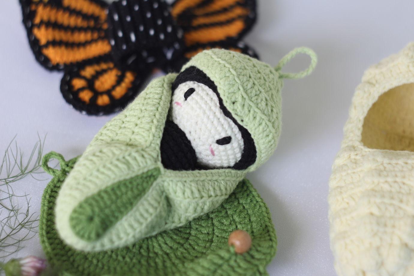 Вязаный развивающий набор - Жизненный цикл бабочки. Монарх