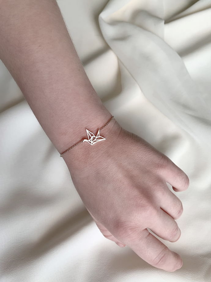 Серебряный браслет с журавлем «Оригами»