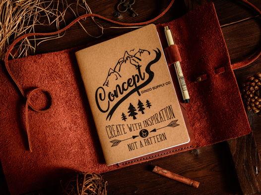 Скетчбук -MYSTERY- со сменными тетрадями А5 (Moleskine) в кожаной обложке цвет Cognac