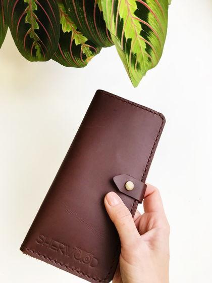 Кожаный кошелёк цвет Красное дерево