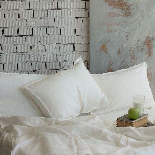 Комплект постельного белья из льна 160х200, простой, белый