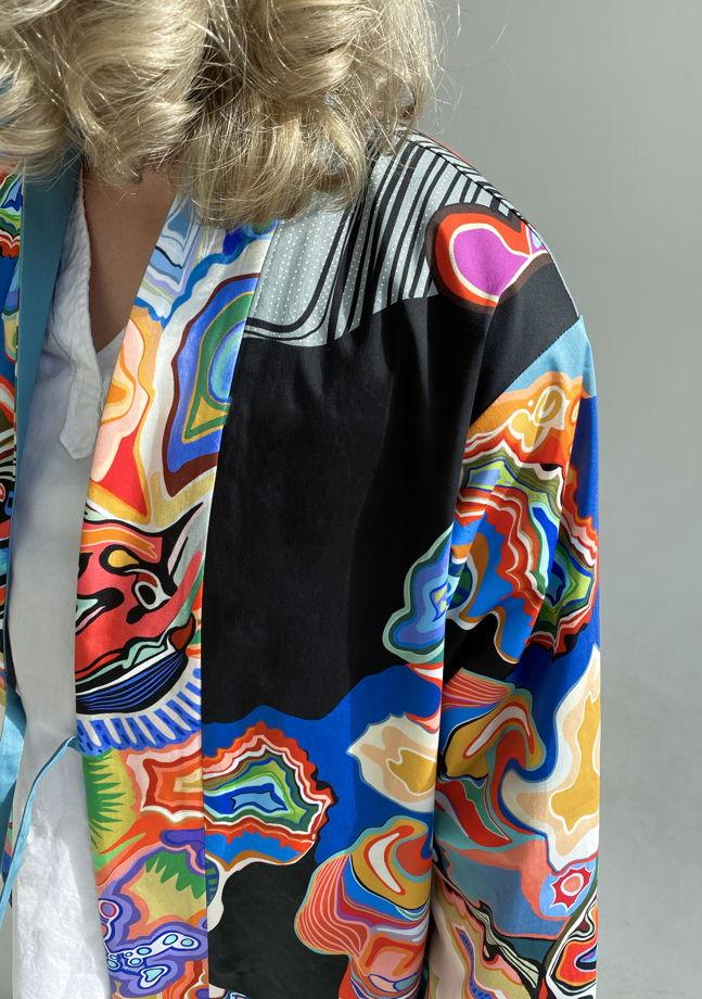 """Длинное  кимоно из плотного хлопка """"Marble"""""""
