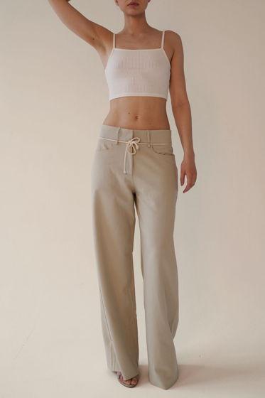 Широкие брюки светло-зеленого цвета со шнурком