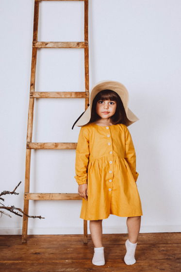Платье хлопковое KYLIE в горчичном цвете