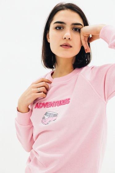 """Свитшот с вышивкой 3D """"ADVENTURES"""" (розовый)"""