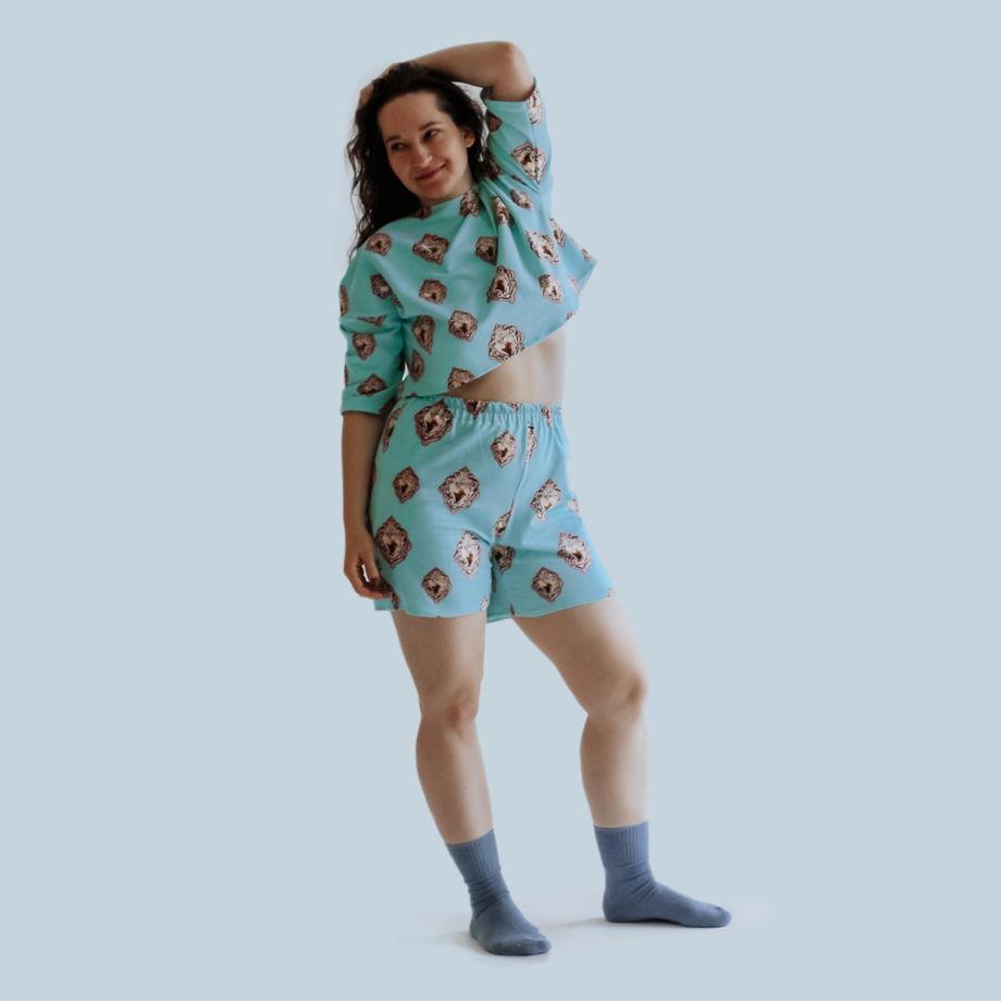 Домашний костюм / пижама с шортами из трикотажа