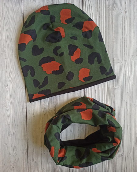 "Комплект шапка и снуд ""Леопард"""