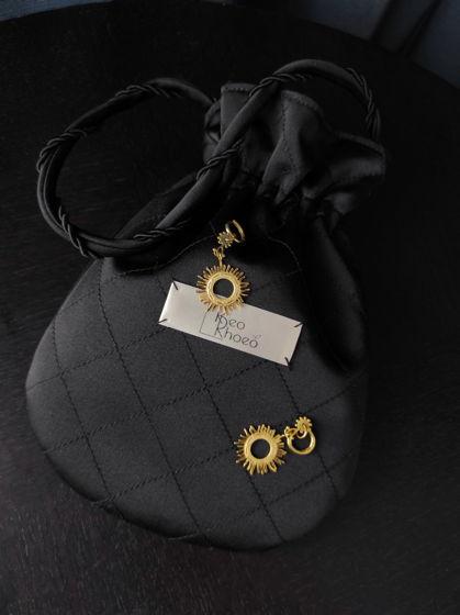 Стеганая сумочка-мешок из черного матового атласа на подкладке