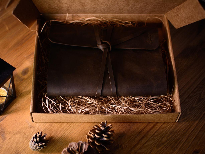 Кожаный блокнот на завязках ручной работы -MYSTERY- со сменным блоком А5 цвет Chocolate