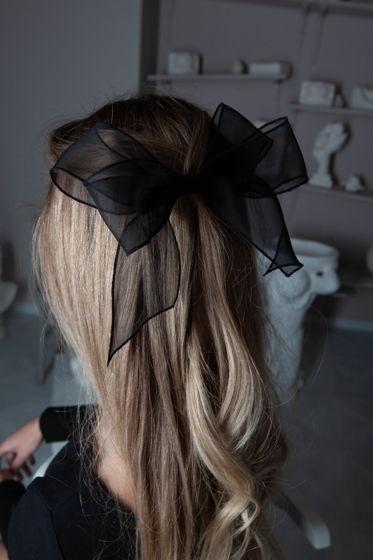 Бант-заколка из натурального шелка Элис, черный