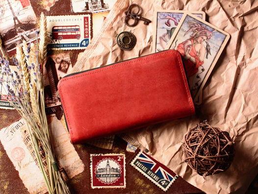 Красный кошелек женский кожаный -DAISY- на молнии