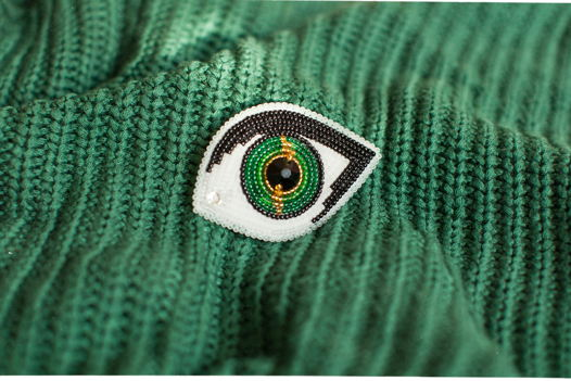 "Брошь из бисера ""Eye"" (green)"