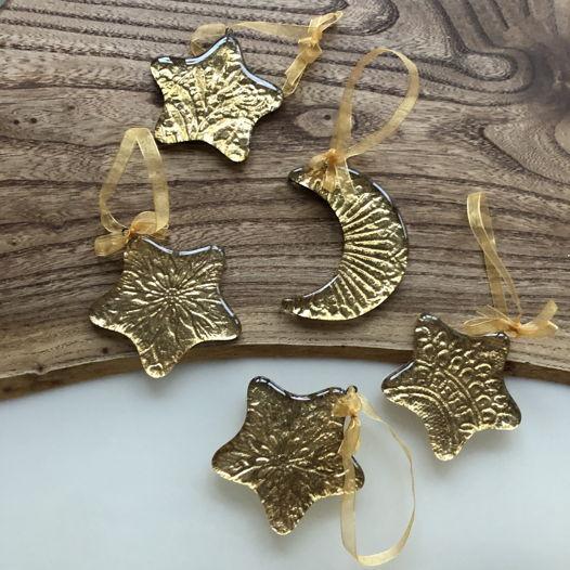 Набор золотых новогодних ёлочных игрушек «Луна со звёздами»
