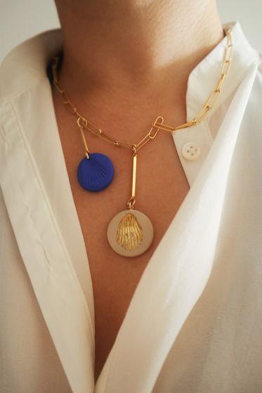 Цепочка с медальоном с отпечатком  ракушки