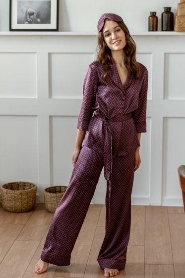 Шёлковая пижама с широкими брюками