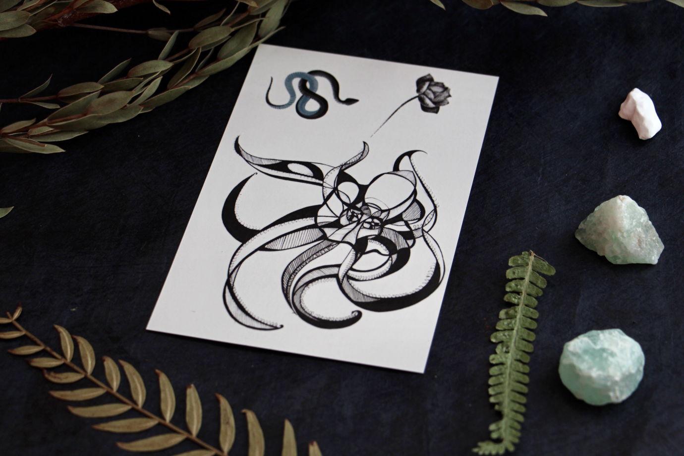 Тату осьминог, змейка и лотос. Переводные татуировки Як