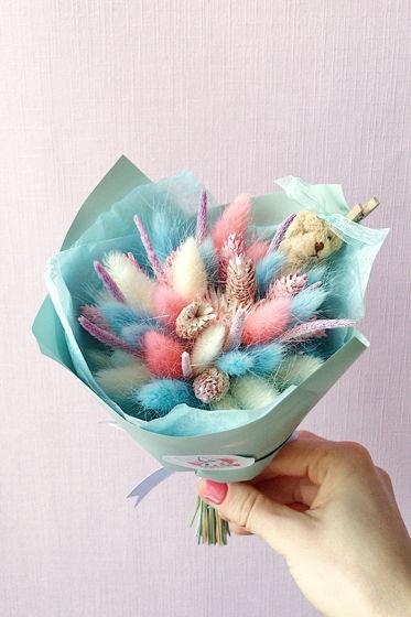 """Детский букетик из сухоцветов №9 """"Розово-голубой"""""""