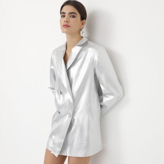 Платье пиджак серебряный