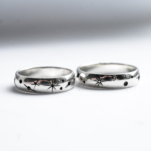 Кольцо из серебра Космос