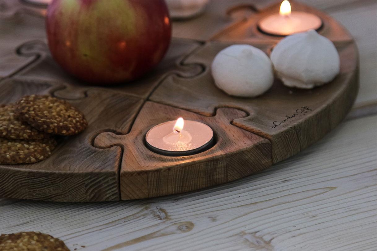 Блюдо-пазл с ложементами для свечей
