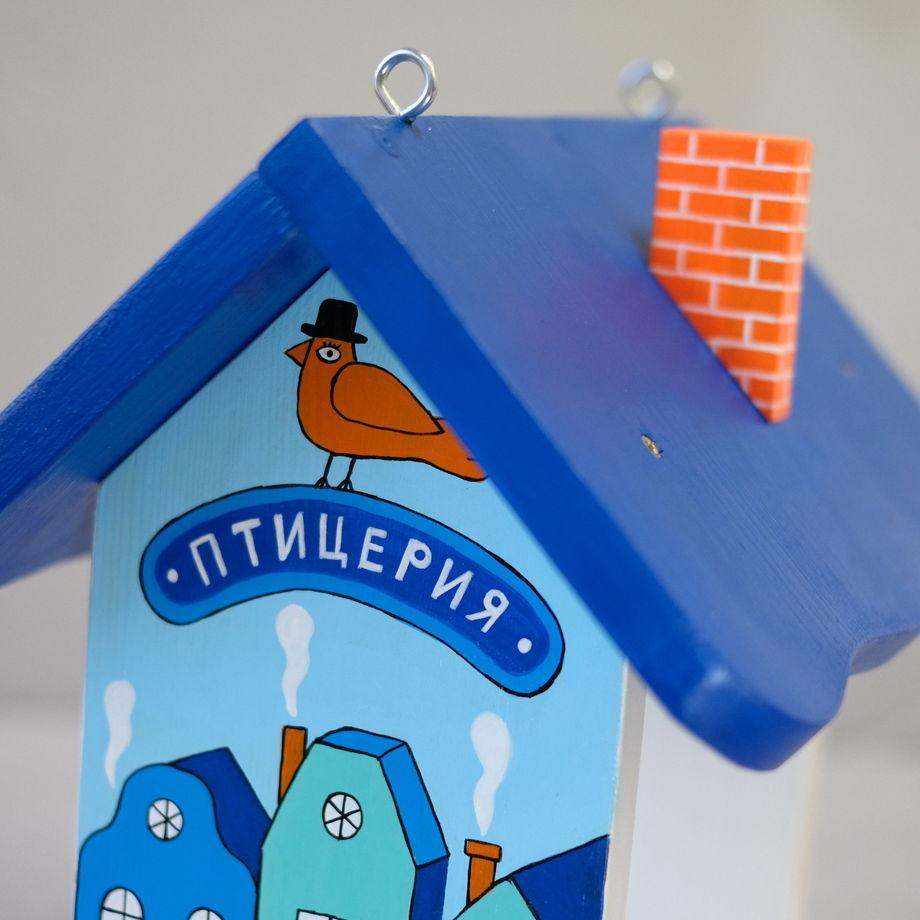 """Деревянный набор для сборки кормушки """"Птицерия"""" синий."""