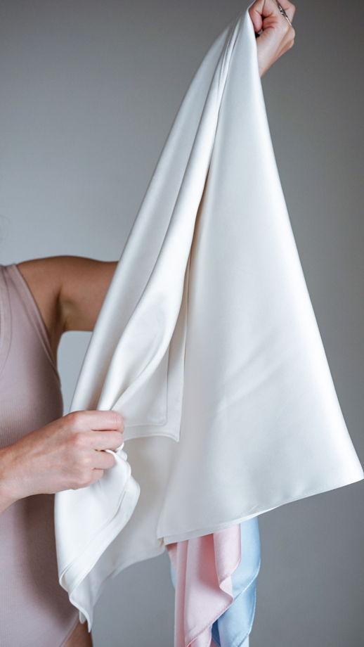 Полотенце для волос из натурального шелка, белое