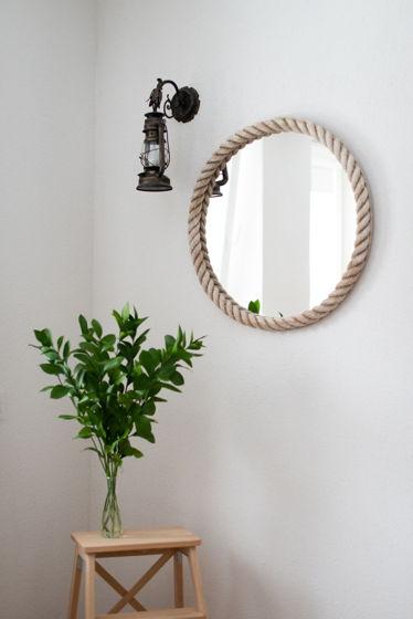 Морское зеркало в белом канате, Ø65 см