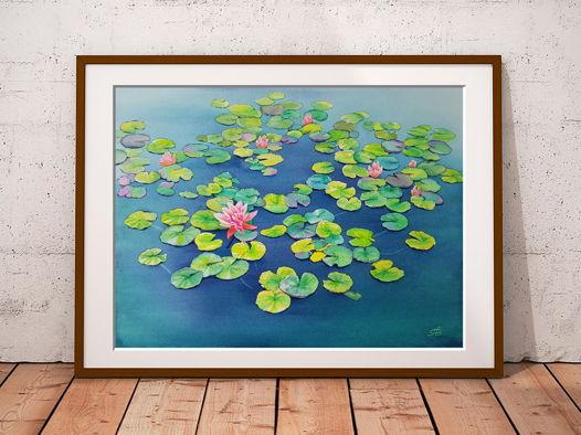 Рассвет на пруду с лилиями (38 х 28 см)
